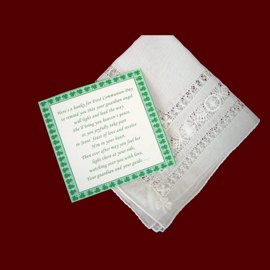 Fancy Hemstitched Communion Hanky With Shamrock Applique