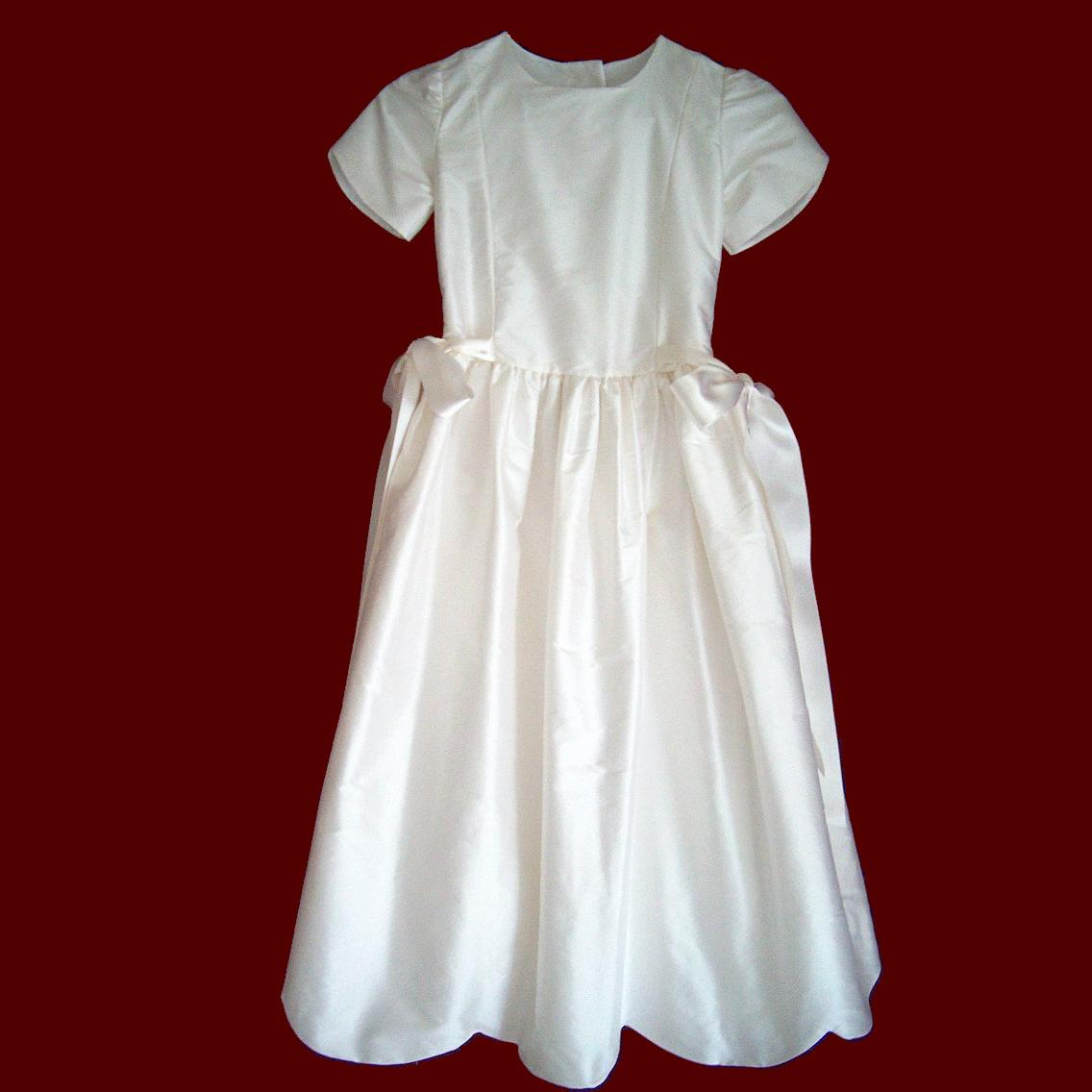 Silk Dupione Scalloped Hem Communion Dress