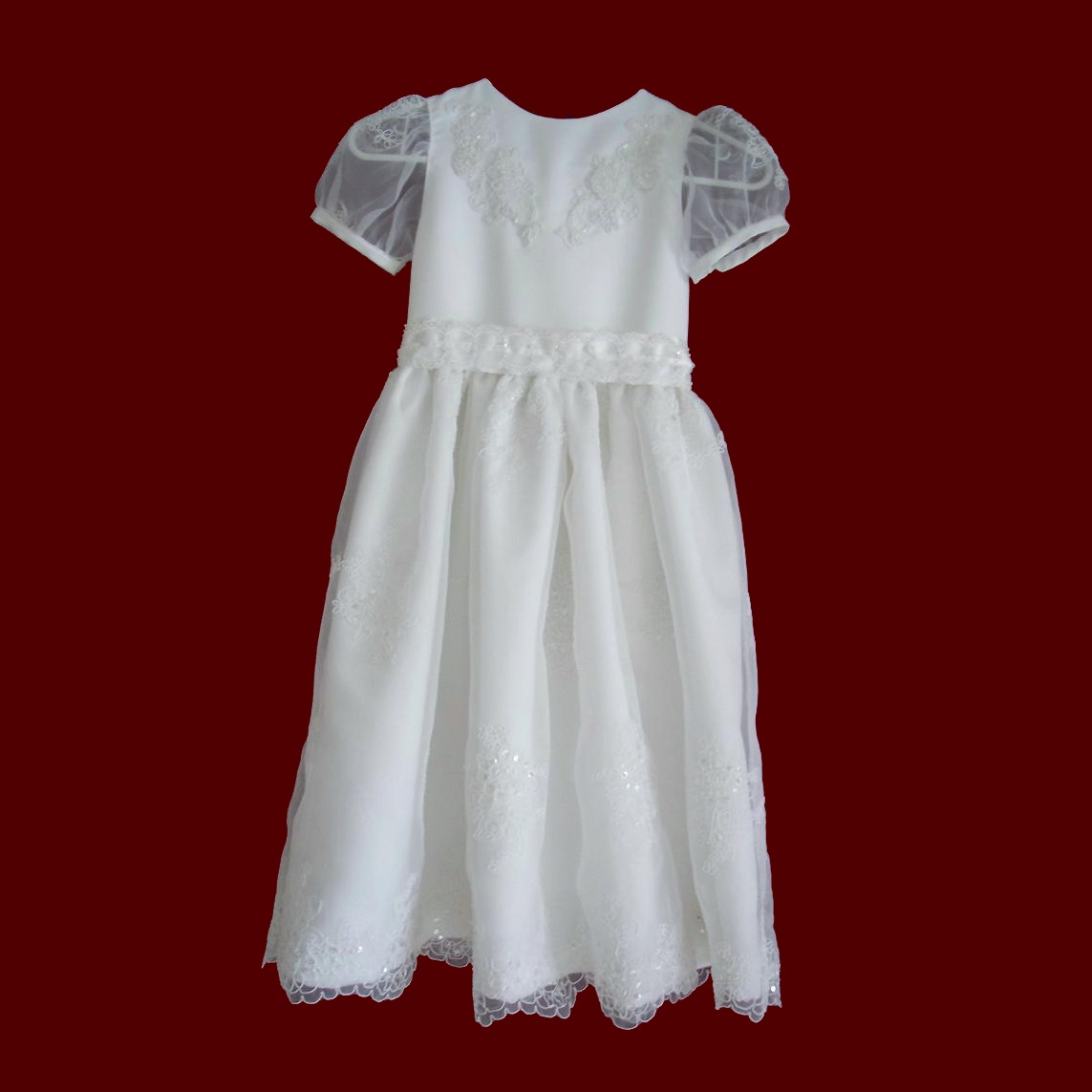 Beaded Organza & Peau de Soie First Communion Dress