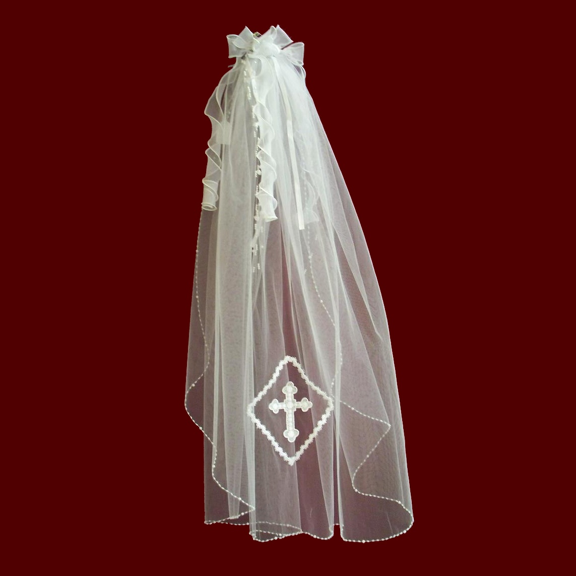 Organza Hairbow and Beaded Edge Veil With Optional Cross & Tiara