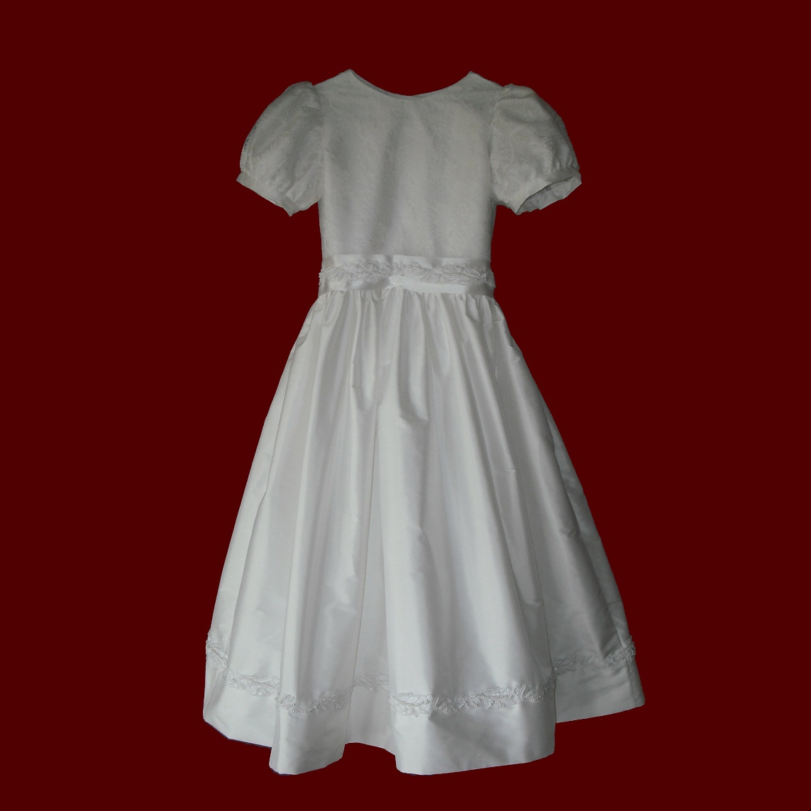 Silk Dupione With Beaded Trim Communion Dress