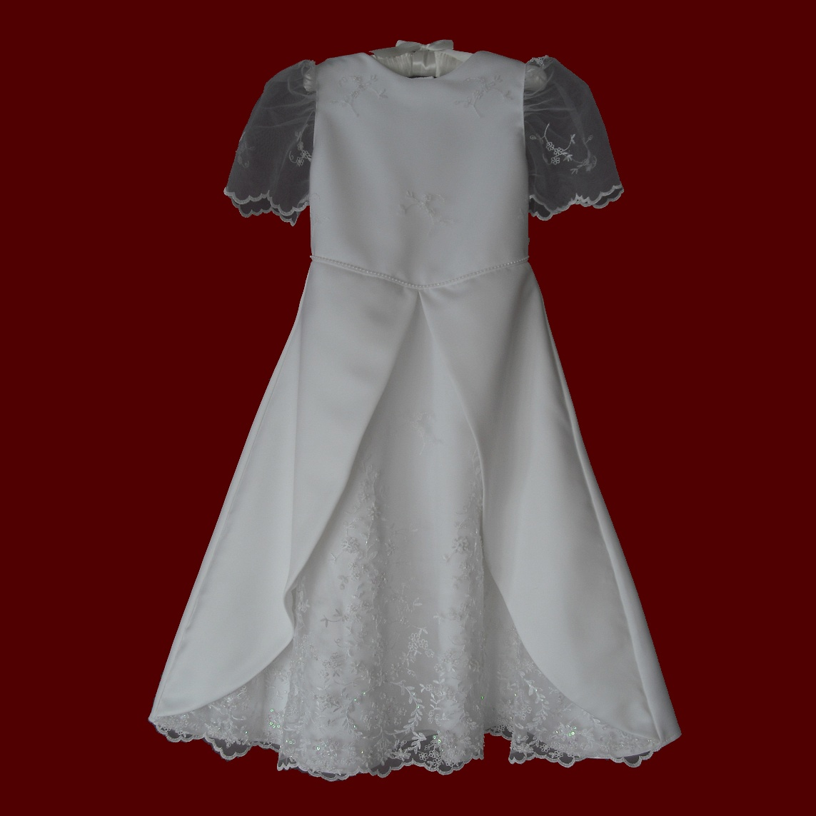 Beaded Netting & Peau de Soie Communion Dress