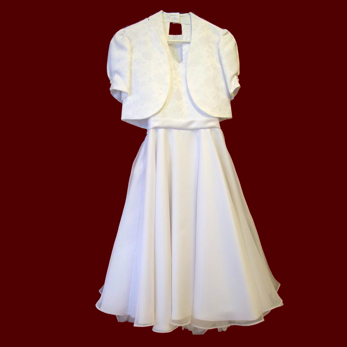 Satin & Chiffon Halter Communion Dress With Jacket