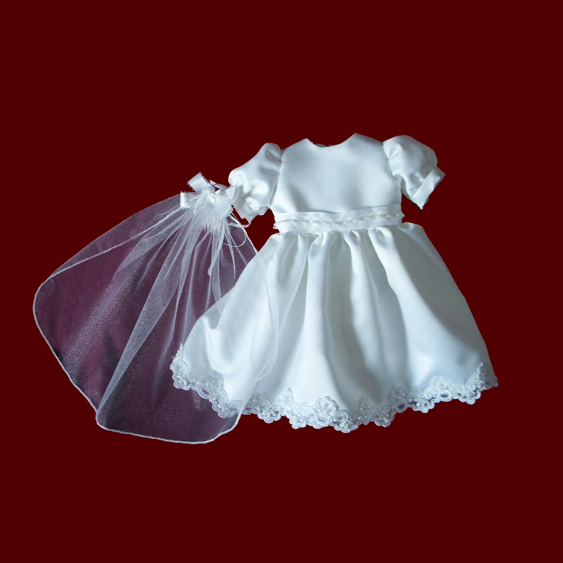 American Girl Satin Communion Dress & Veil