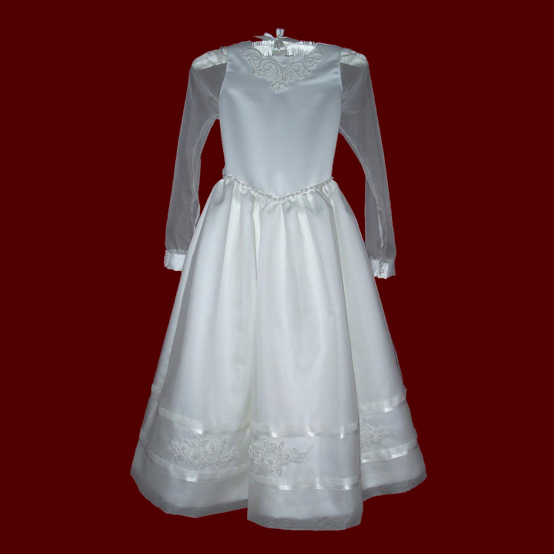 Silk Organza With Duchess Satin & Beaded Trim Communion Dress