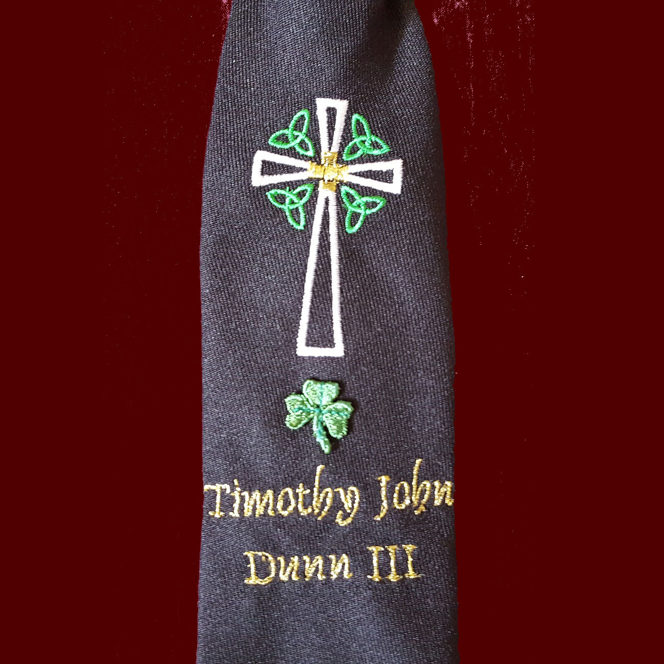 Boys Irish Communion Tie With Embroidered Celtic Cross With Trinity Knots