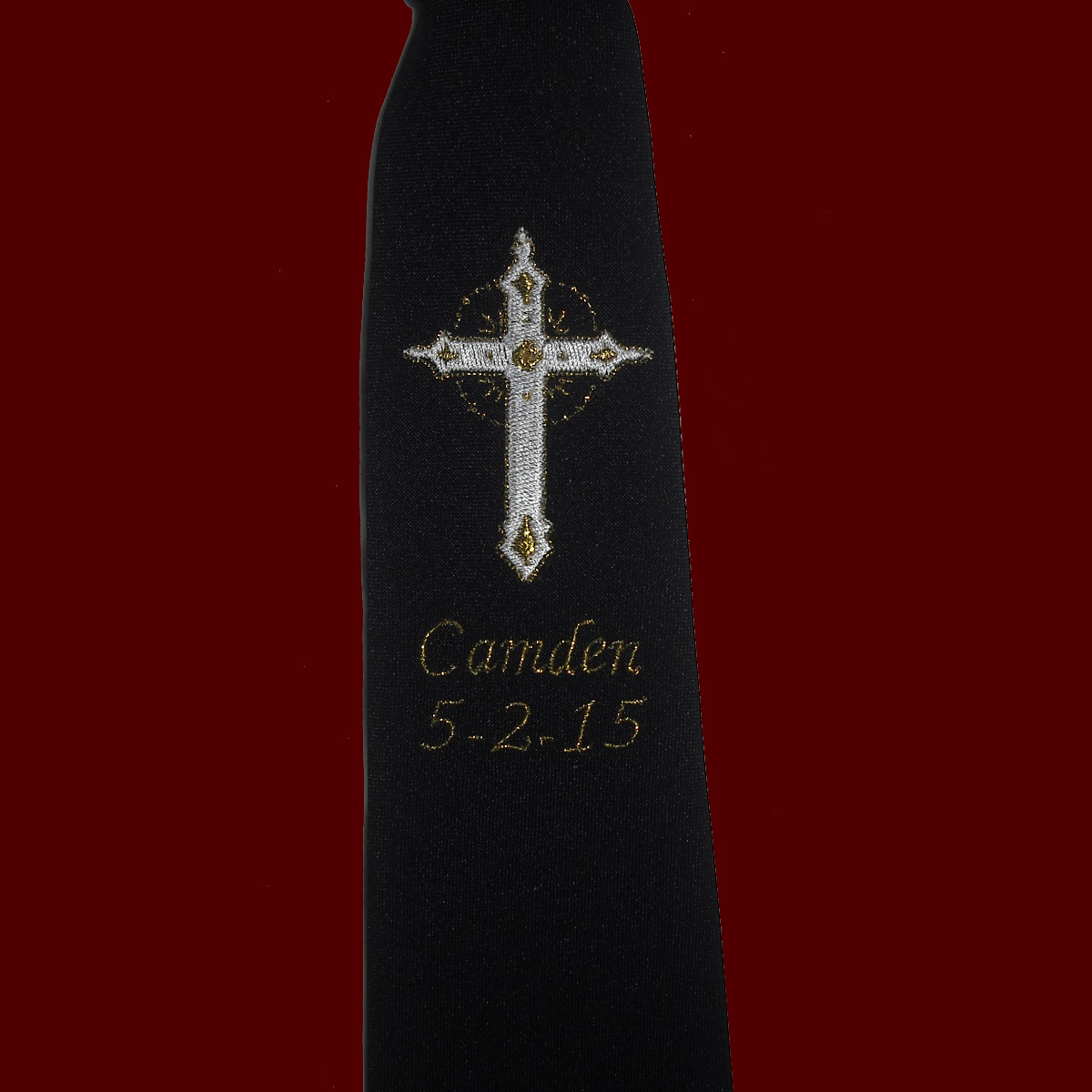 Embroidered Cross Communion Tie With Gold