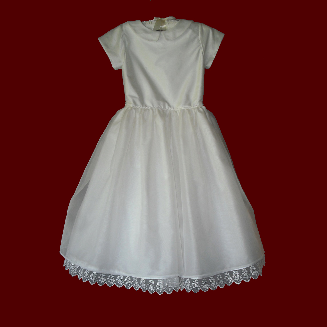 Silk Dupione With Organza Skirt Communion Dress With Collar