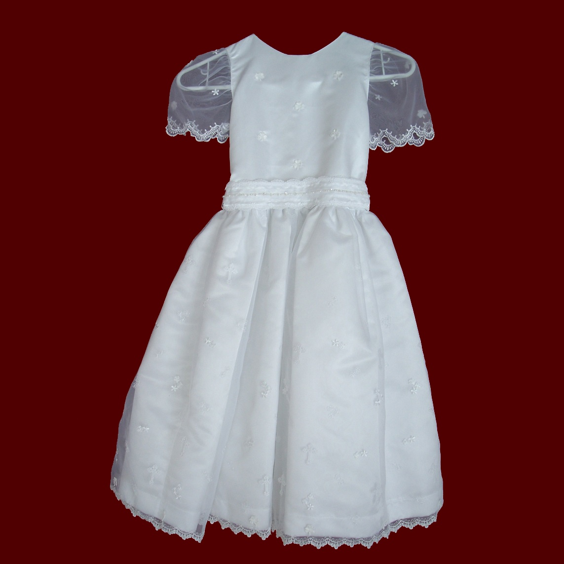Scalloped Organza With Crosses Communion Dress