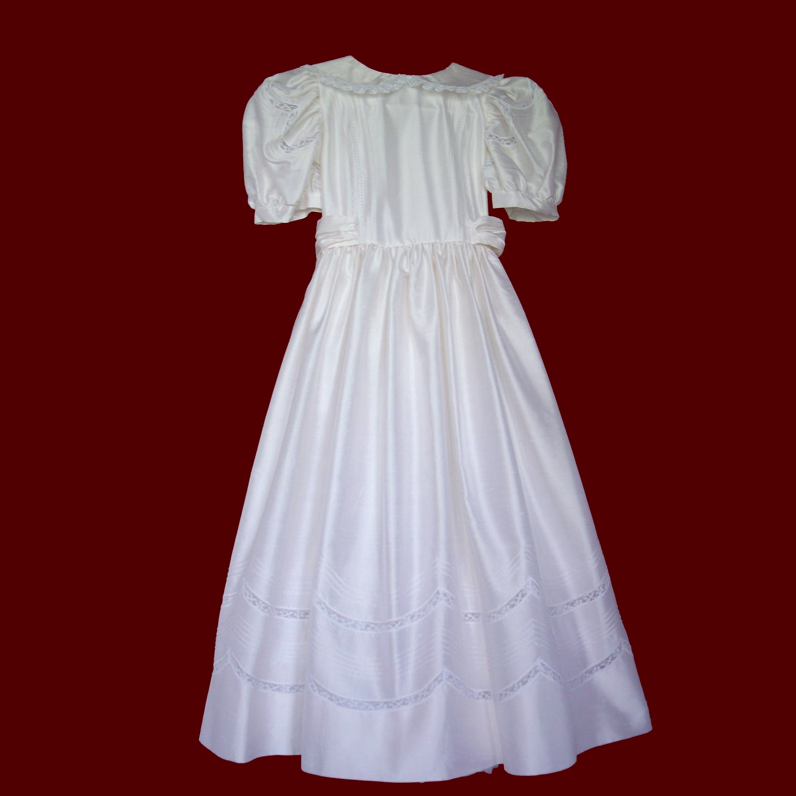 Silk Communion Dress With Lace Scallops