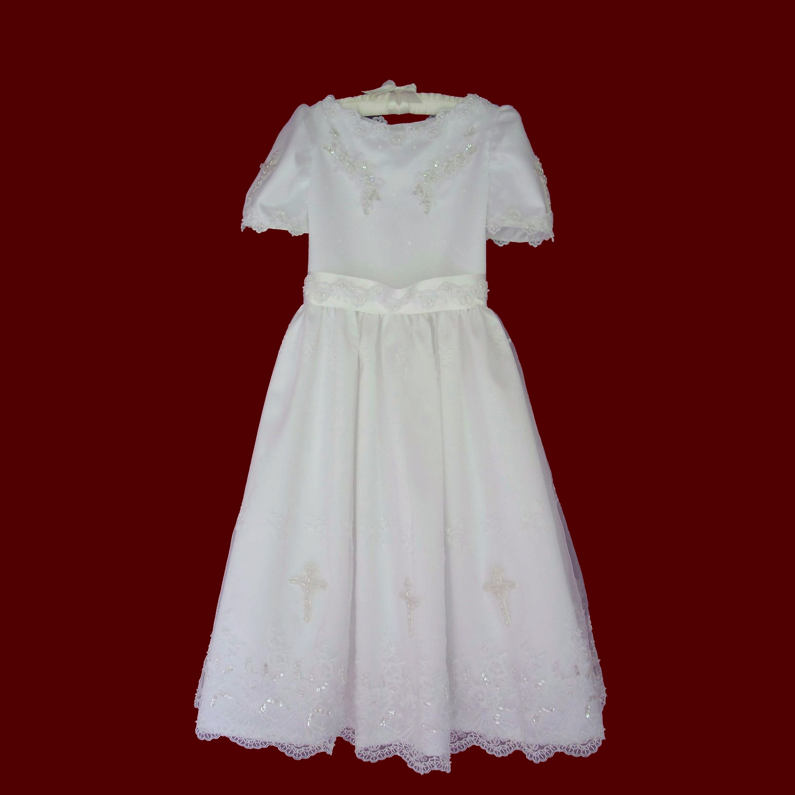 Embroidered Beaded Communion Dress With Crosses