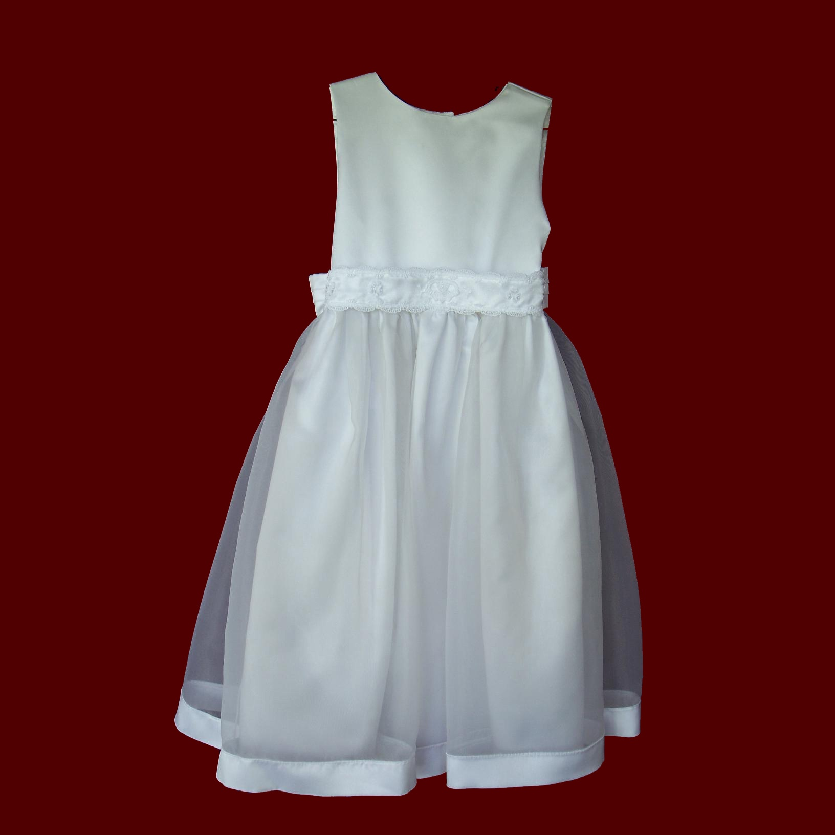 Sleeveless Organza Overlay Communion Dress