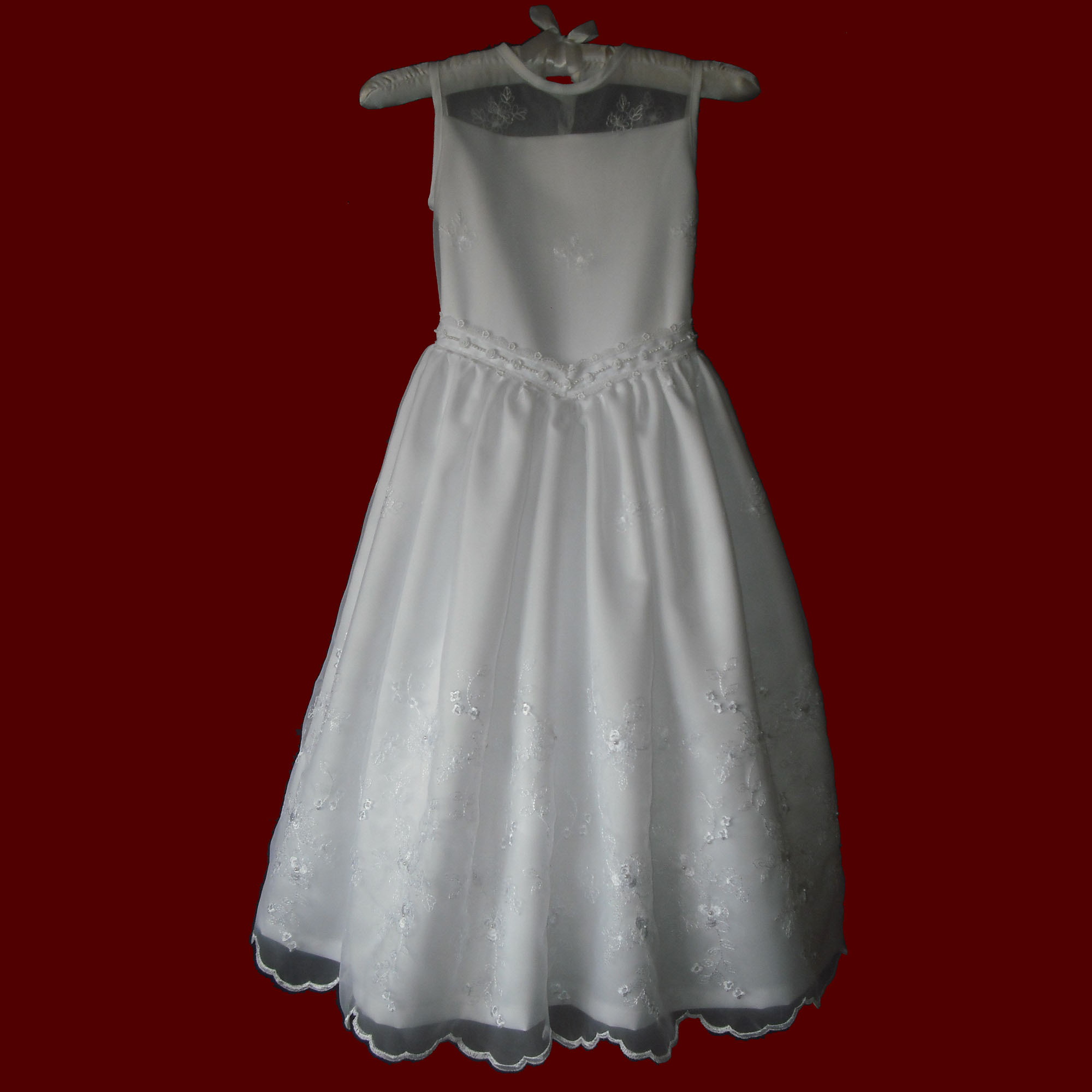Embroidered Floral Organza With Sheer Bodice Communion Dress