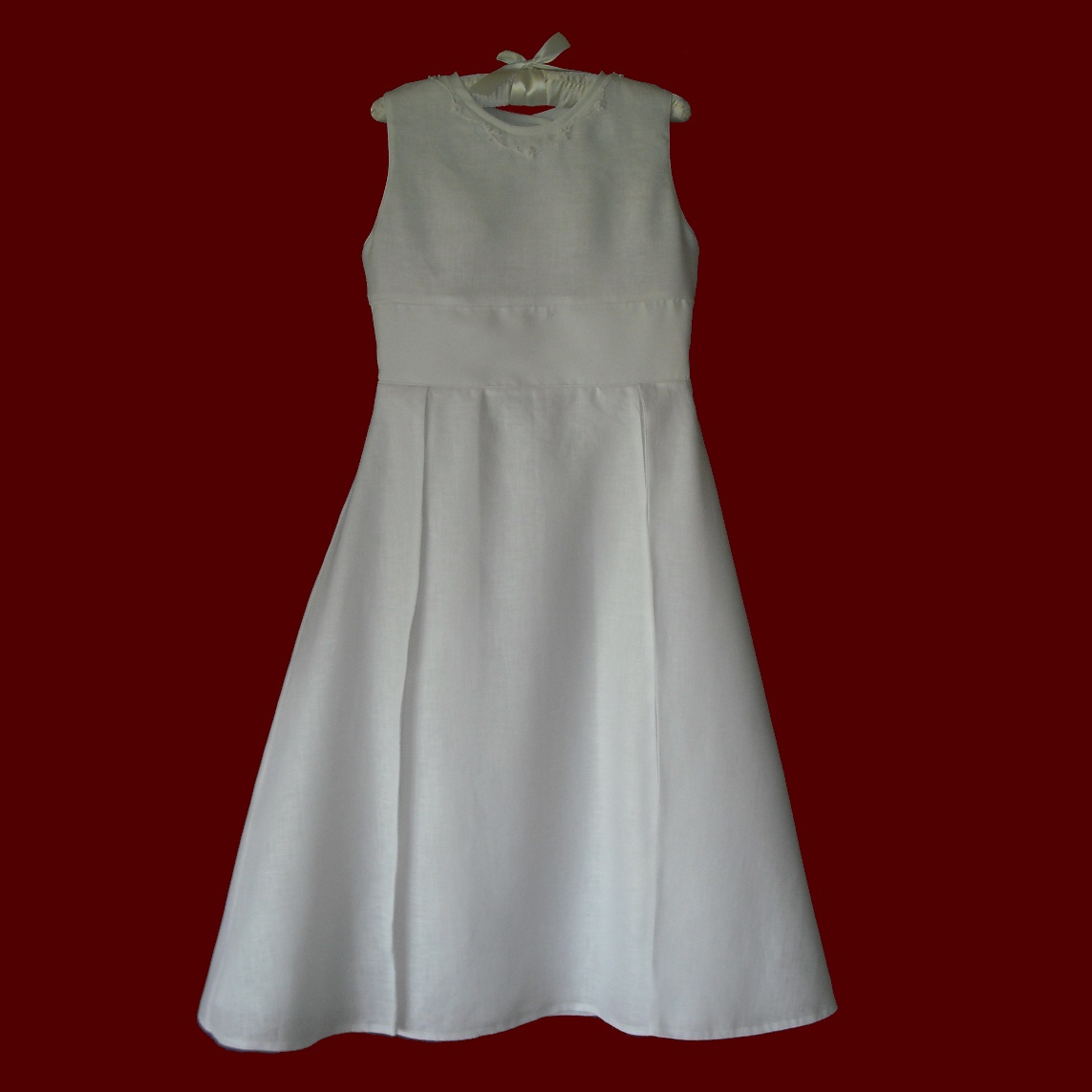 Sleeveless Irish Linen Hand Embroidered Communion Dress