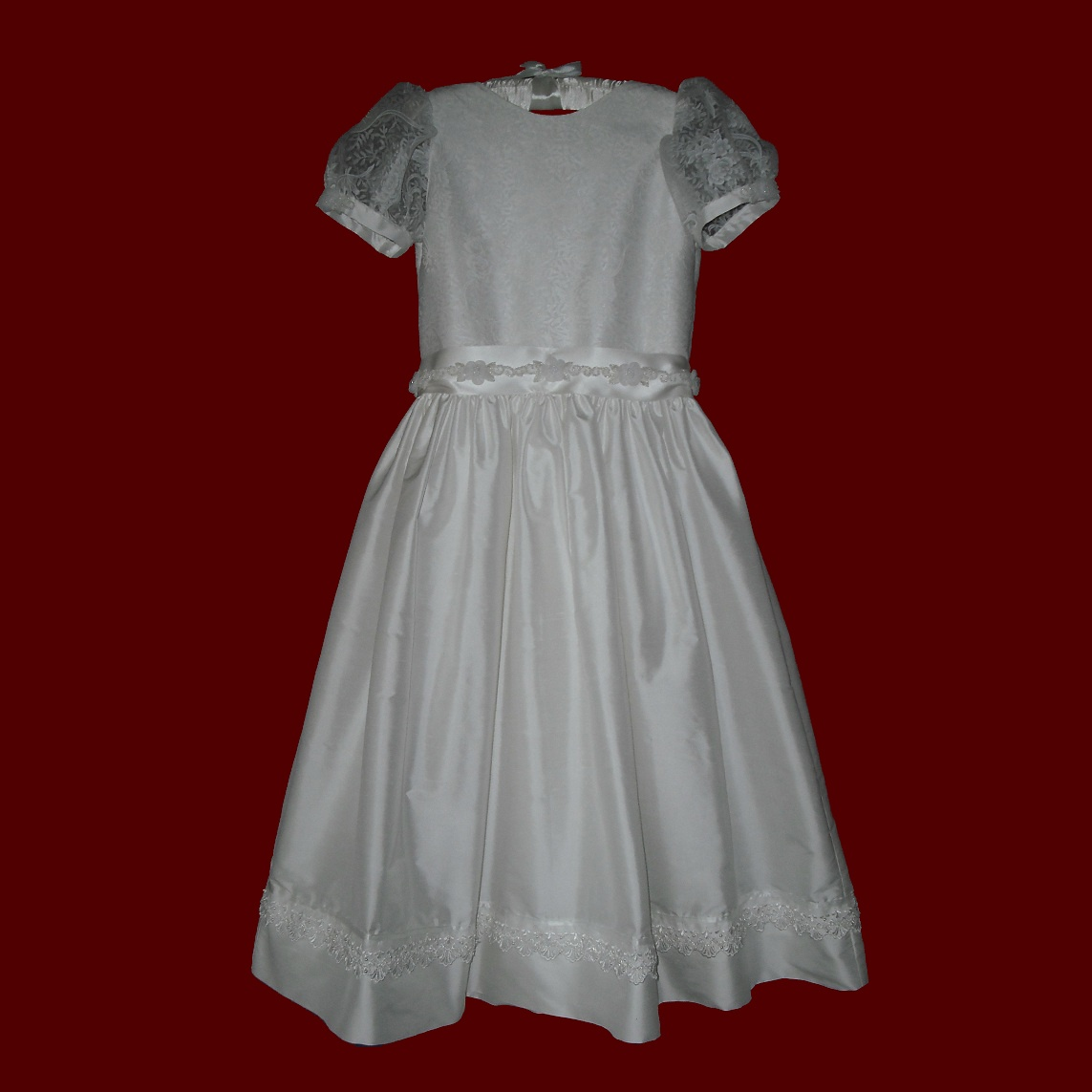 Silk Communion Dress With Sheer Embossed Detail & Beaded Trim