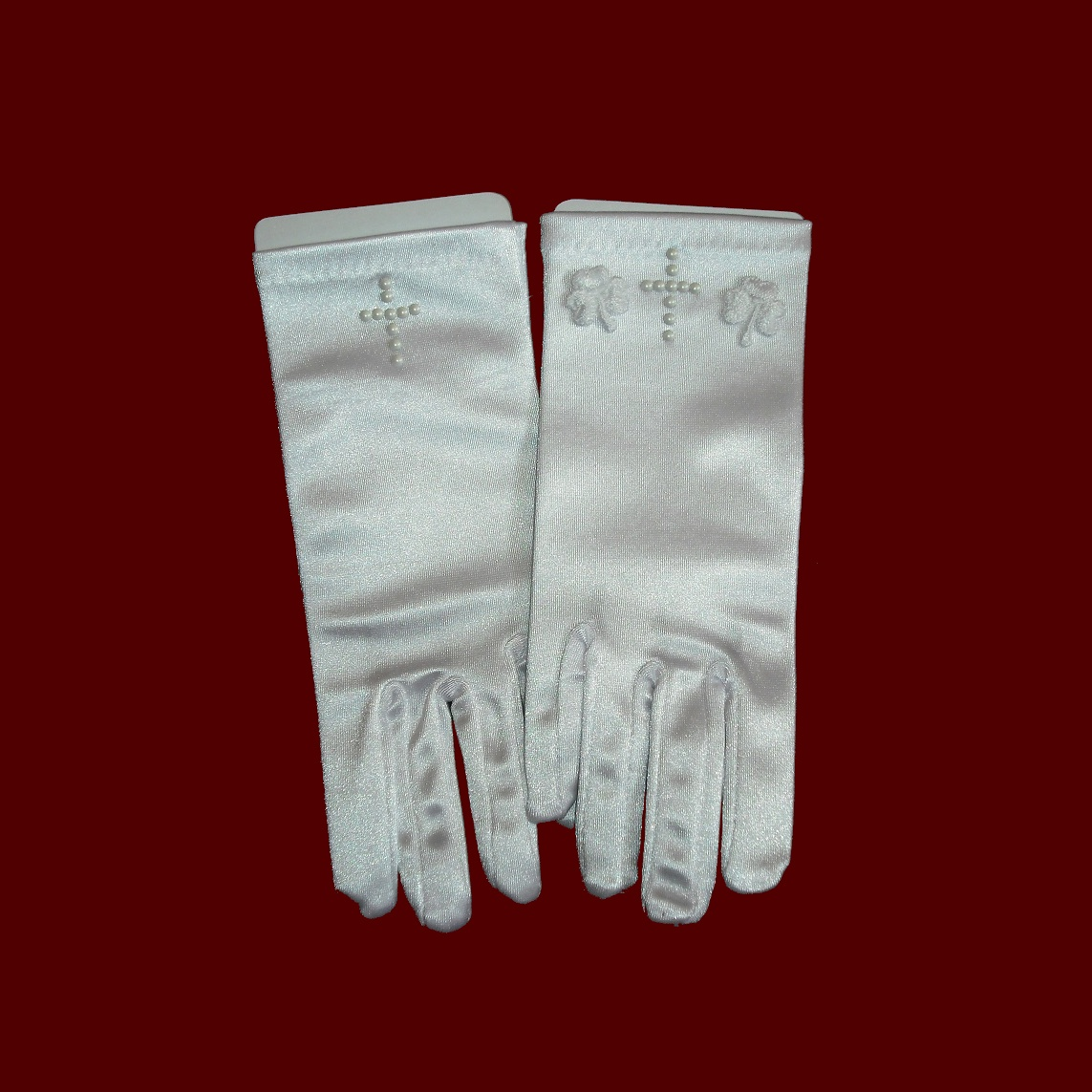 Pearl Cross Communion Gloves With Optional Shamrocks