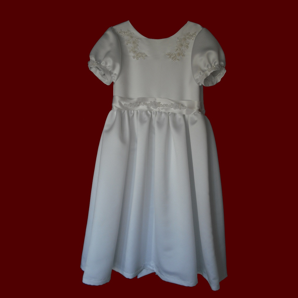 Duchess Satin Communion Dress With Appliques