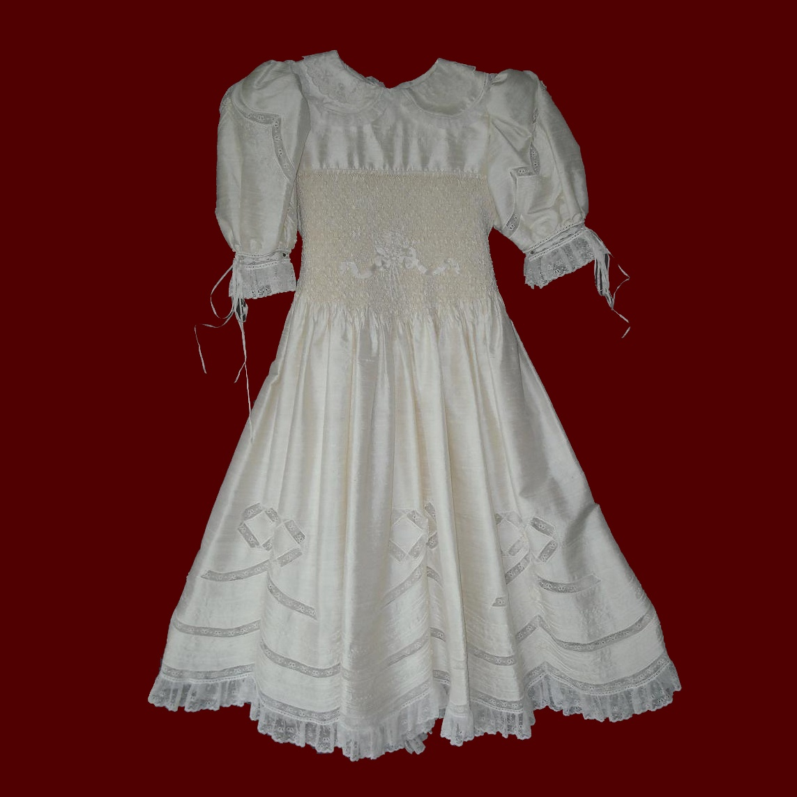 Silk Designer Hand Smocked Communion Dress With Lace Bows