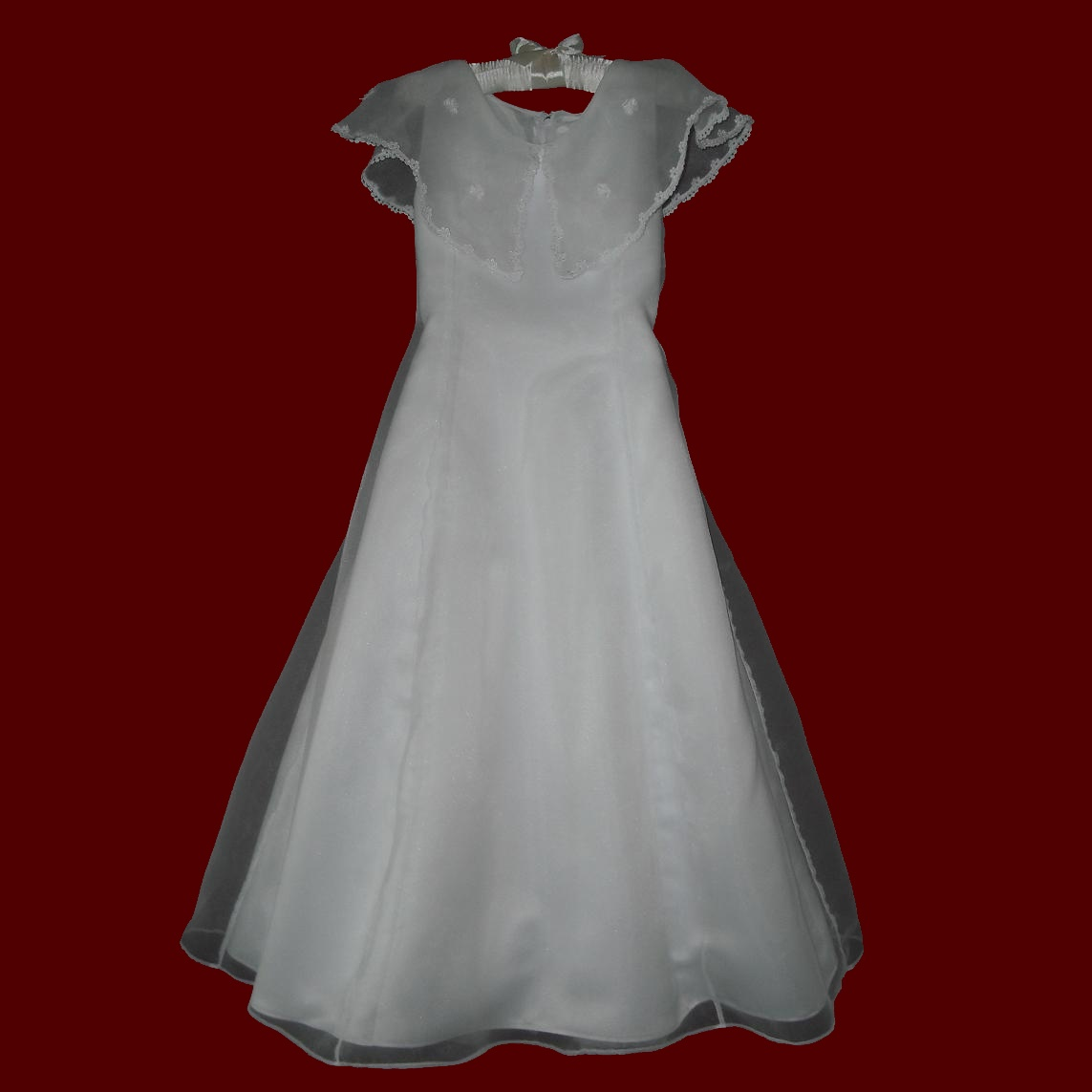 Organza Communion Dress With Portrait Collar
