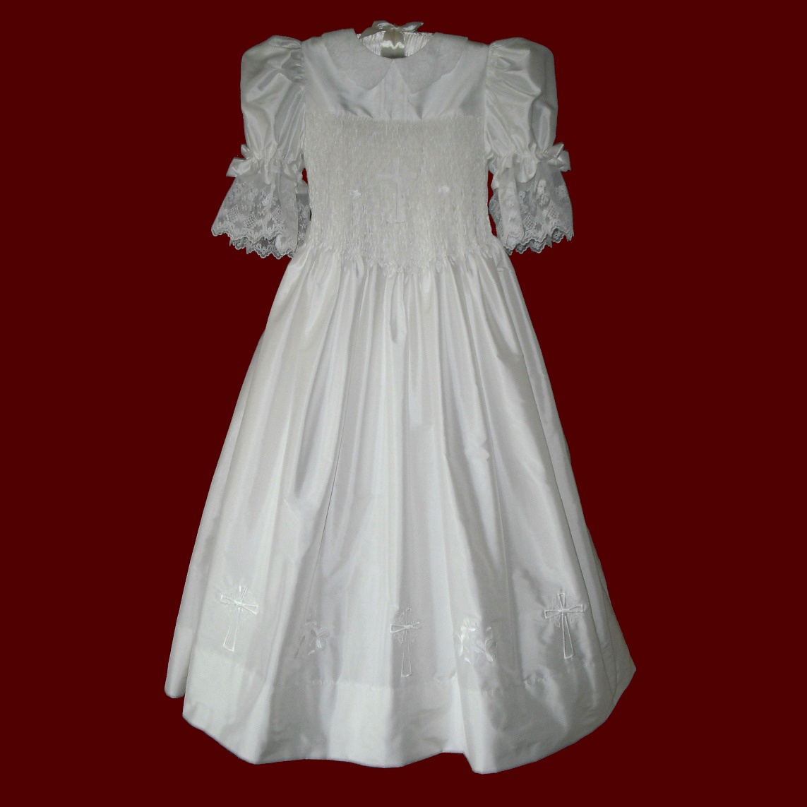 Silk Hand Smocked English Netting Communion Dress