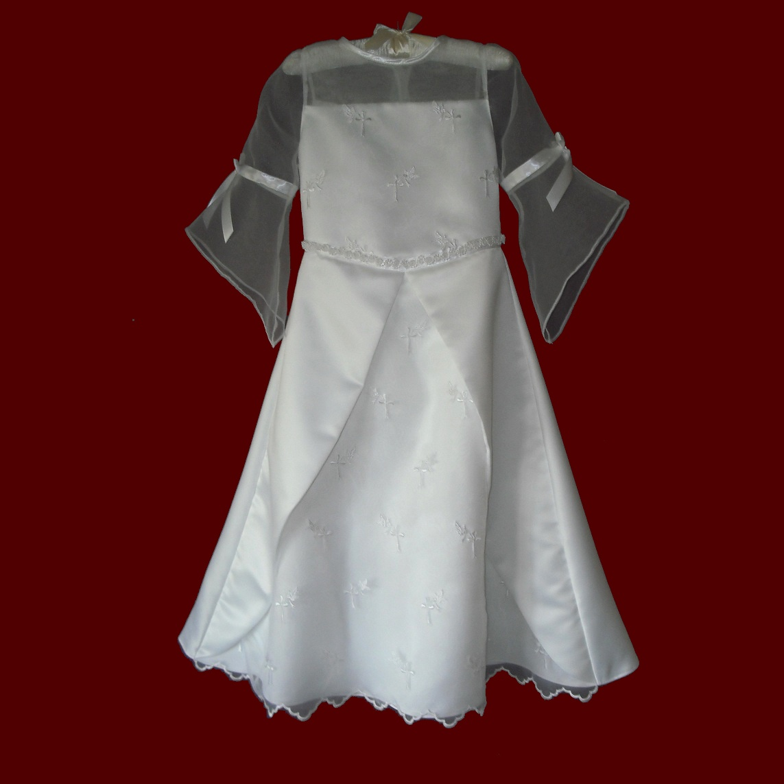 Embroidered Cross With Dove Communion Dress With Angel Sleeves