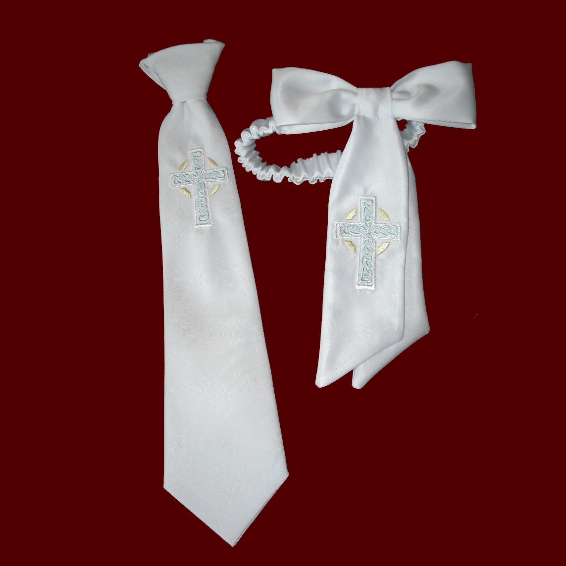 embroidered cross boys communion tie  u0026 armband set - boy communion accessories