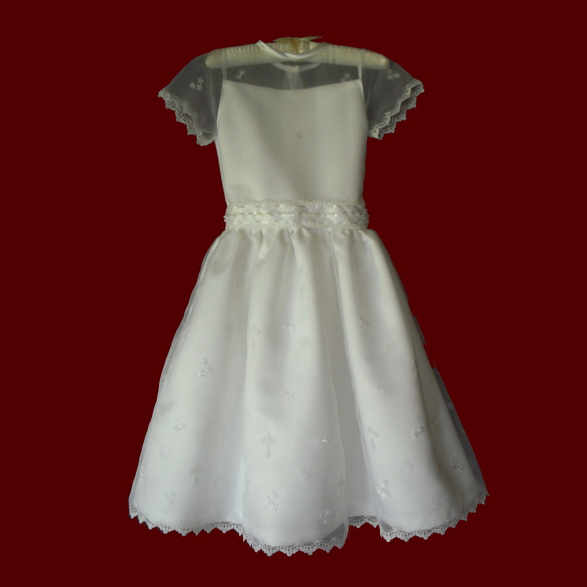 Sheer Organza With Flowers Communion Dress