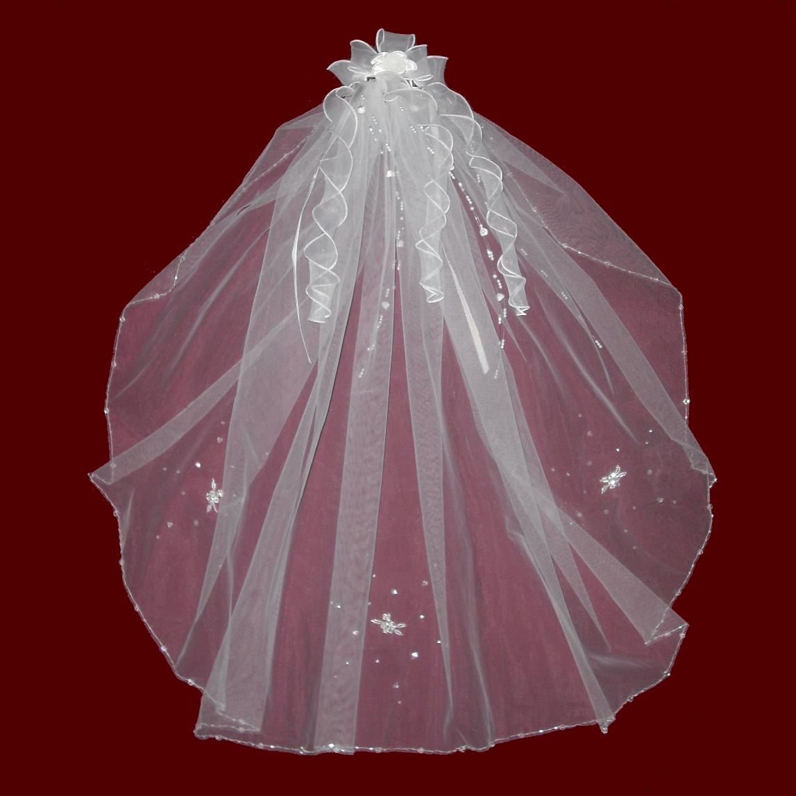 Beaded Edge Communion Veil With Organza Hairbow