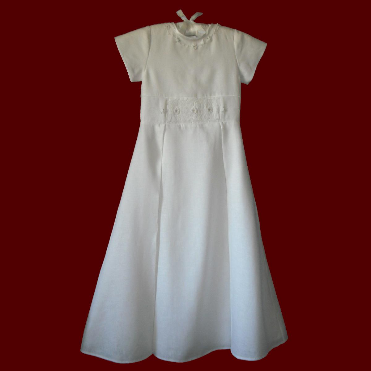 Irish Linen Hand Smocked Communion Dress With Swarovski Crystals