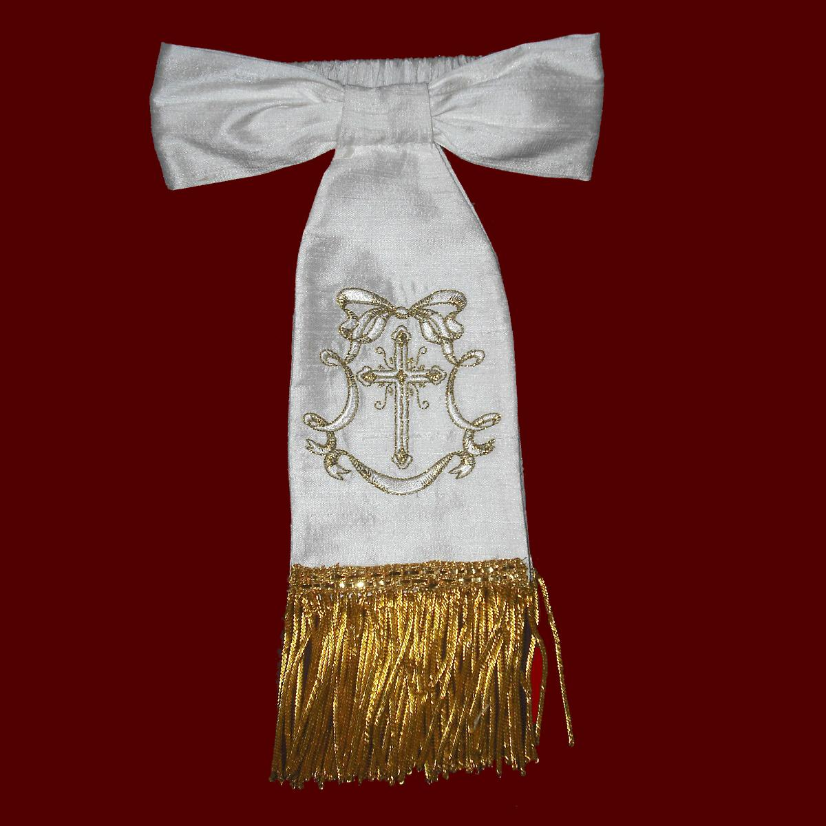 boys communion armband with metallic fringe - boy communion accessories