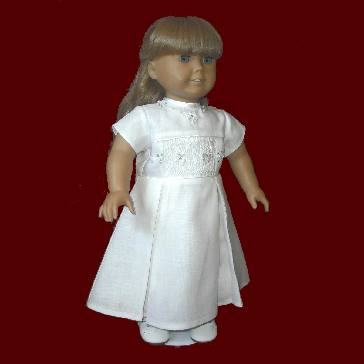 Irish American Girl Communion Doll Dress With Hand Smocked Insert
