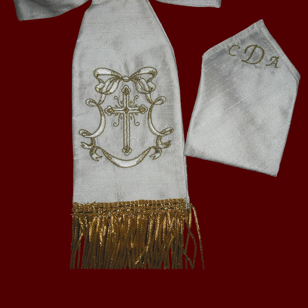 communion armband  u0026 pocket square with metallic accents - boy communion accessories