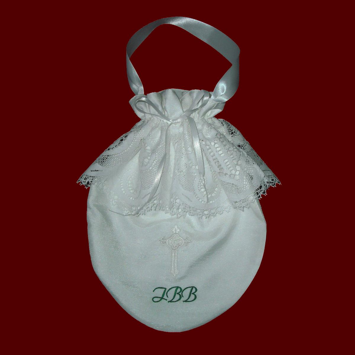 Monogrammed Communion Purse with Cross & Heart Lace