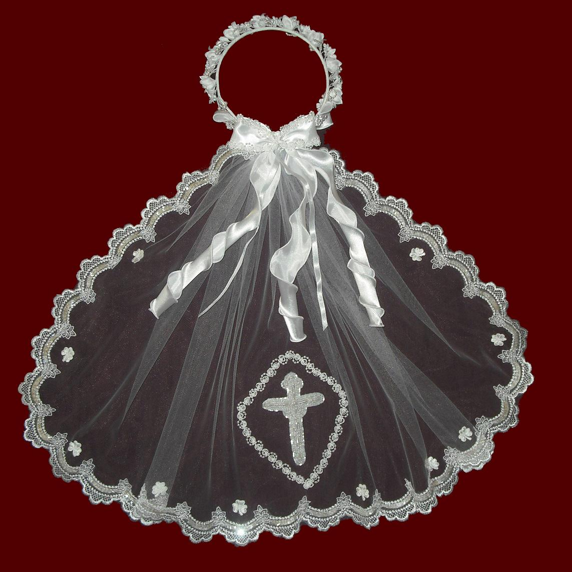 Irish Communion Veil With Beaded Scalloped Edging  & Pearl Cross & Optional Headpiece