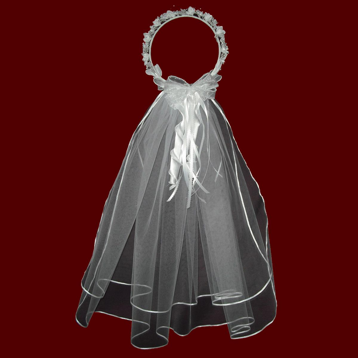 Communion Veil With Optional Floral Wreath & Cross