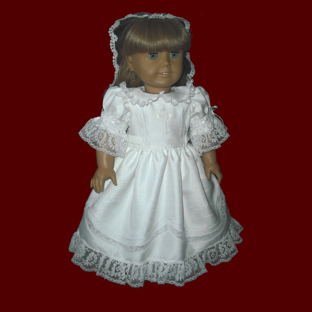 Scalloped Lace American Girl Communion Dress & Veil