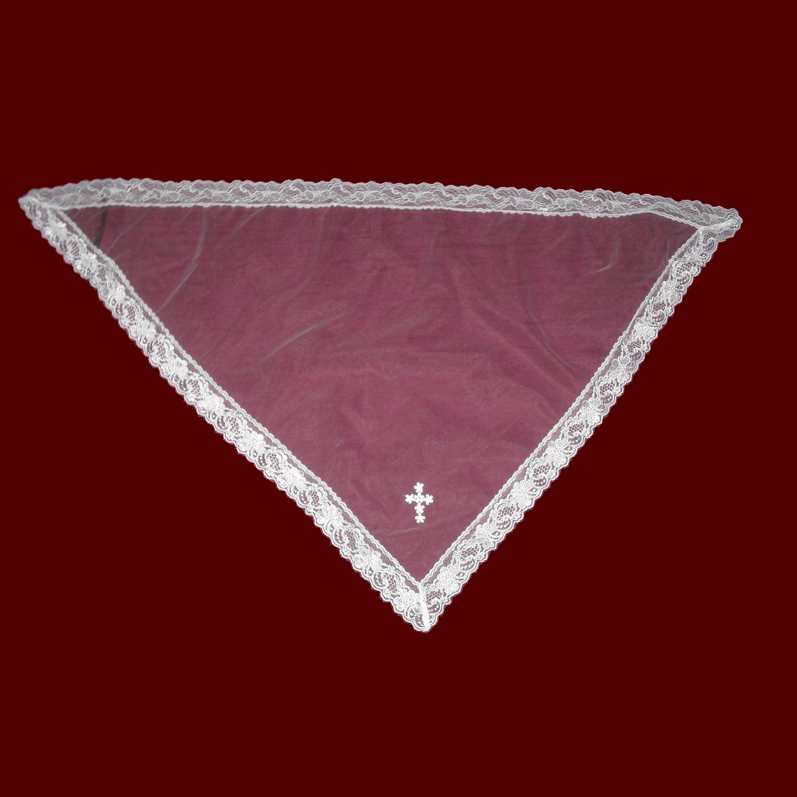Communion Mantilla with Floral Lace & Cross