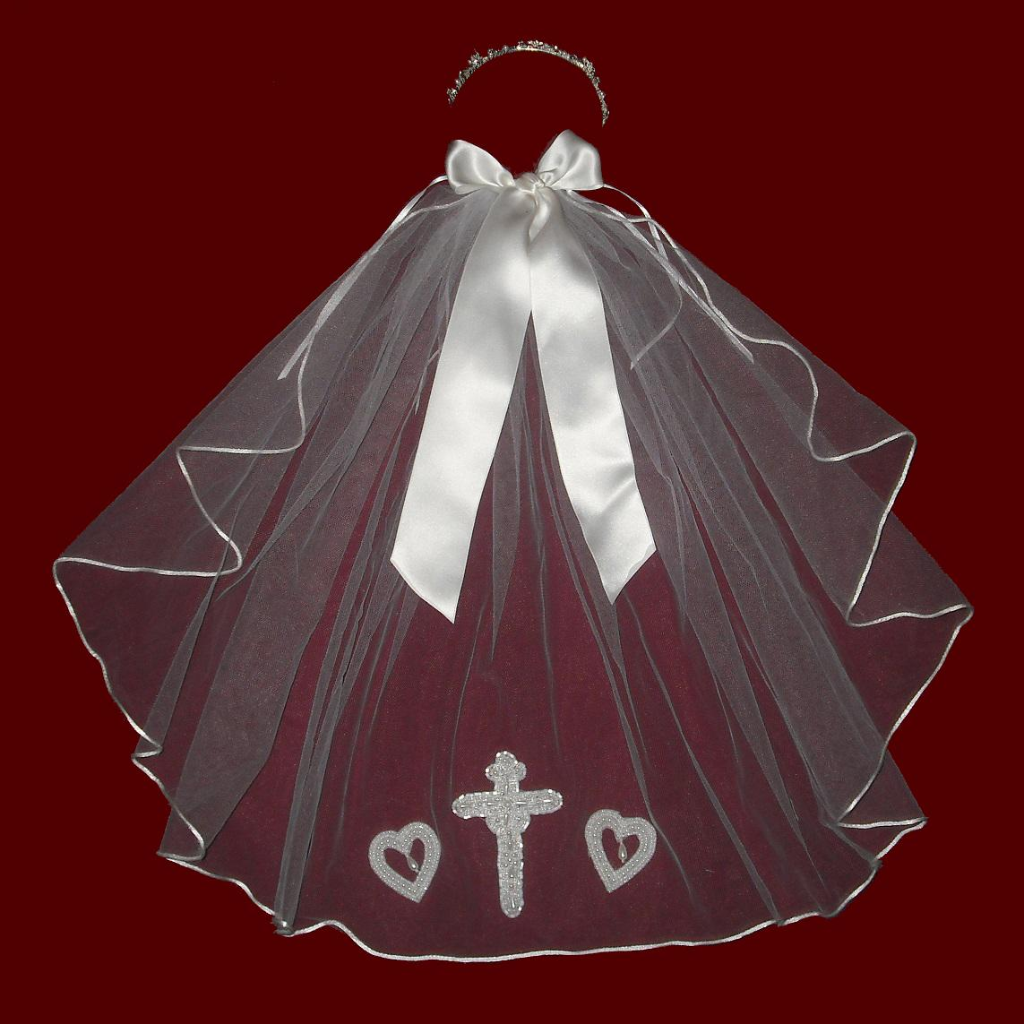 Silk Satin Ribbon Bow With Optional Choice of Headpiece & Veil With Beaded Cross & Hearts