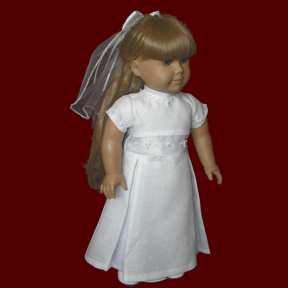 Irish Linen American Girl Communion Doll Dress & Veil