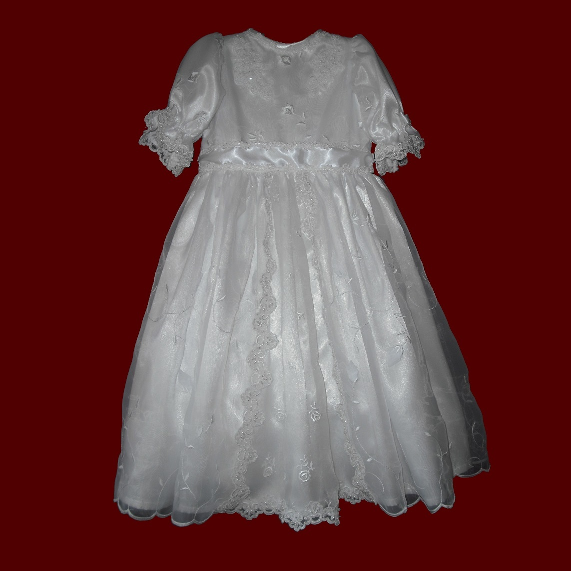 Rosebud Embroidered Organza with Floral Inset & Beaded Lace Communion Dress