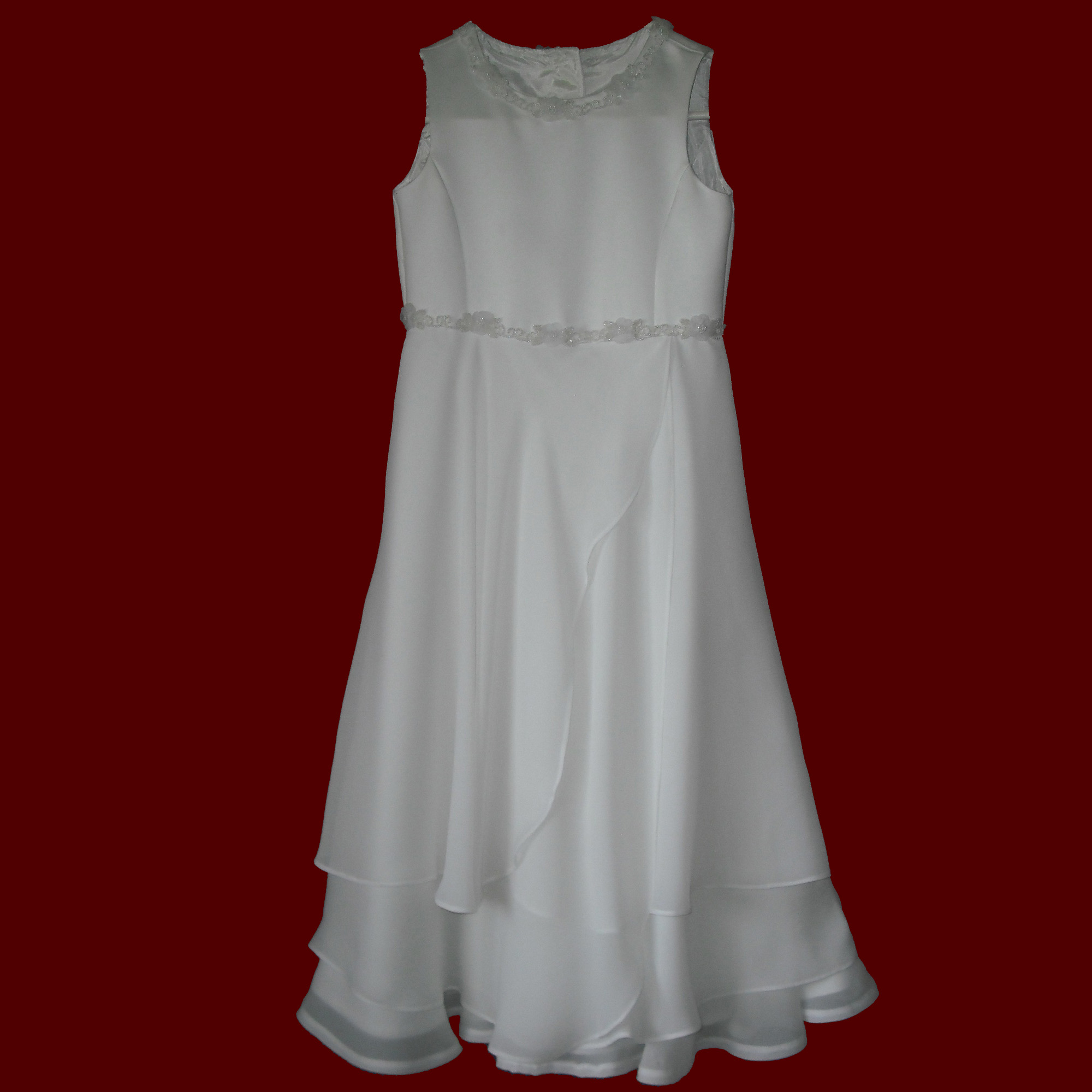 Tiered Georgette With Beaded Floral Trim Communion Dress