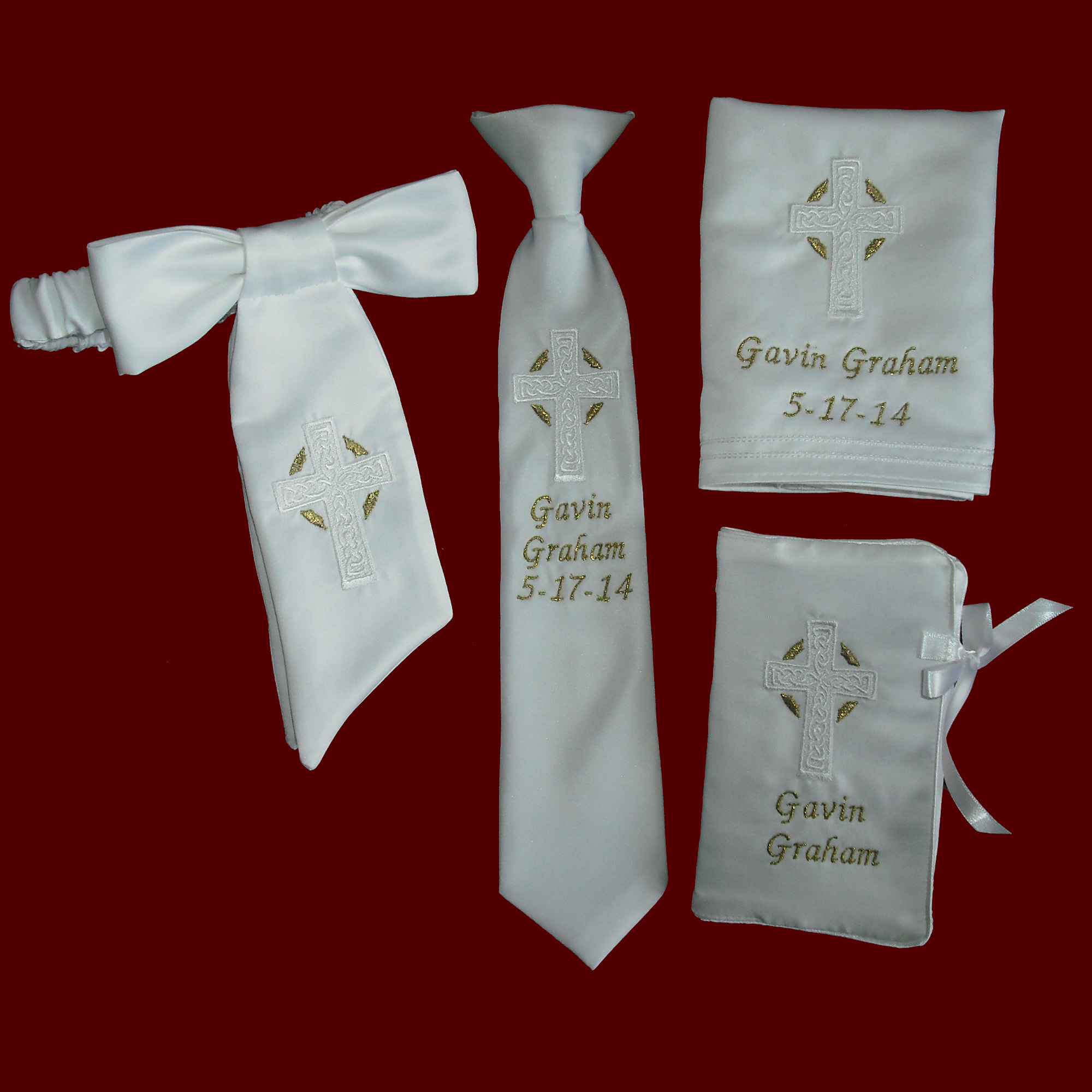Ultimate 5 Piece Boys Communion Keepsake Gift Set with Gold Accents