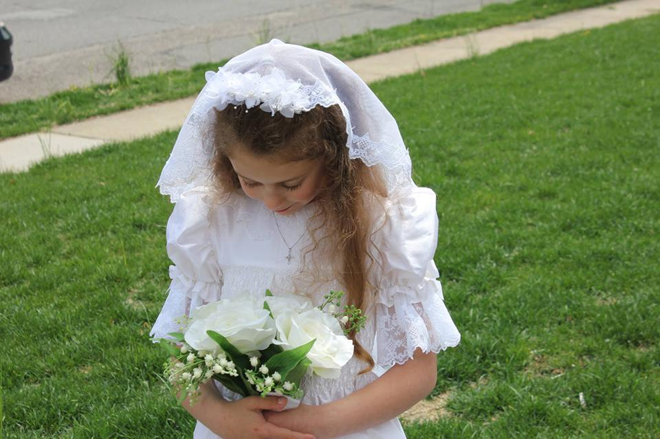 English Netting Mantilla Communion Veil With Scalloped Lace & Cross