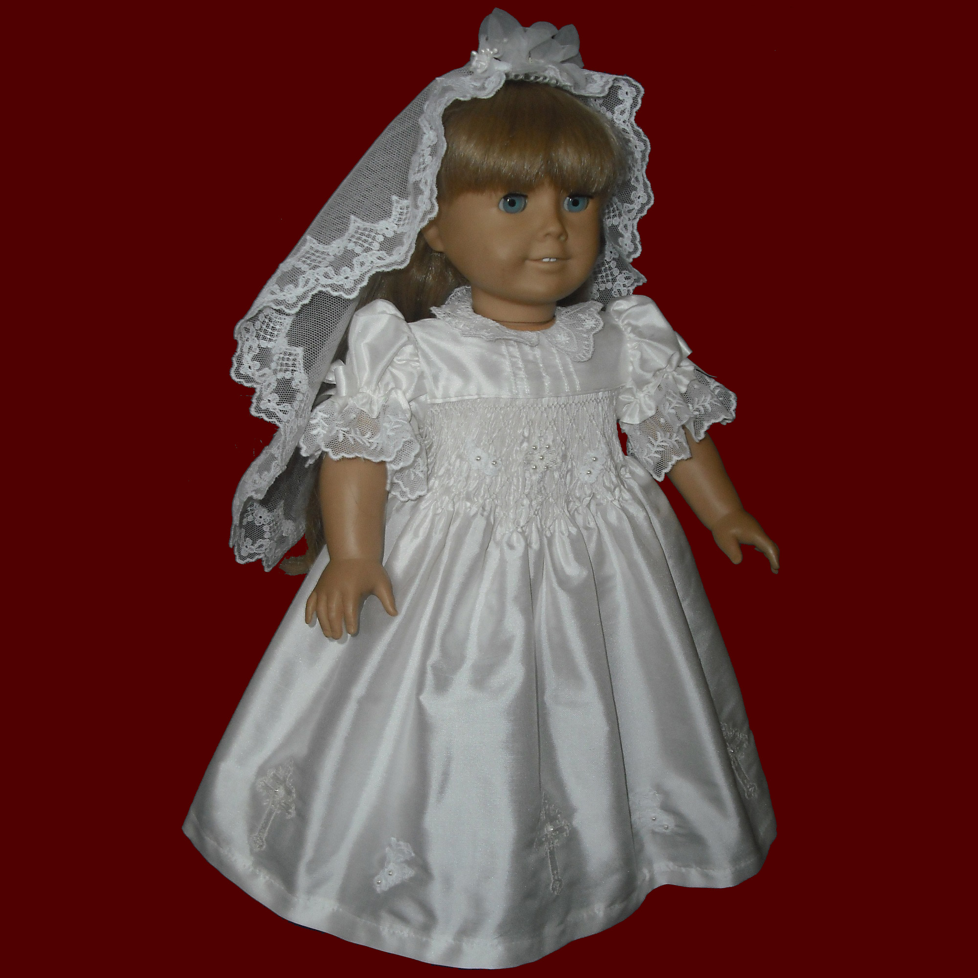 Silk & English Netting Hand Smocked Communion Doll Dress With Veil