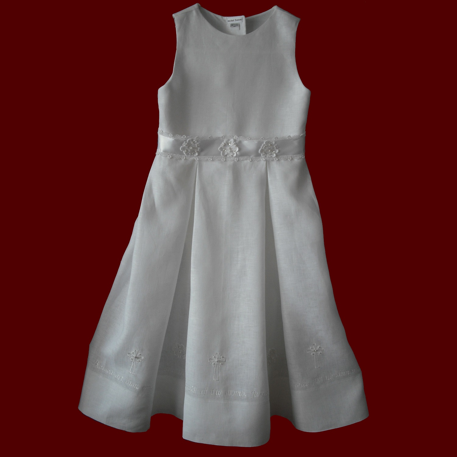 Hail Mary Embroidered Prayer With Crosses Communion Dress