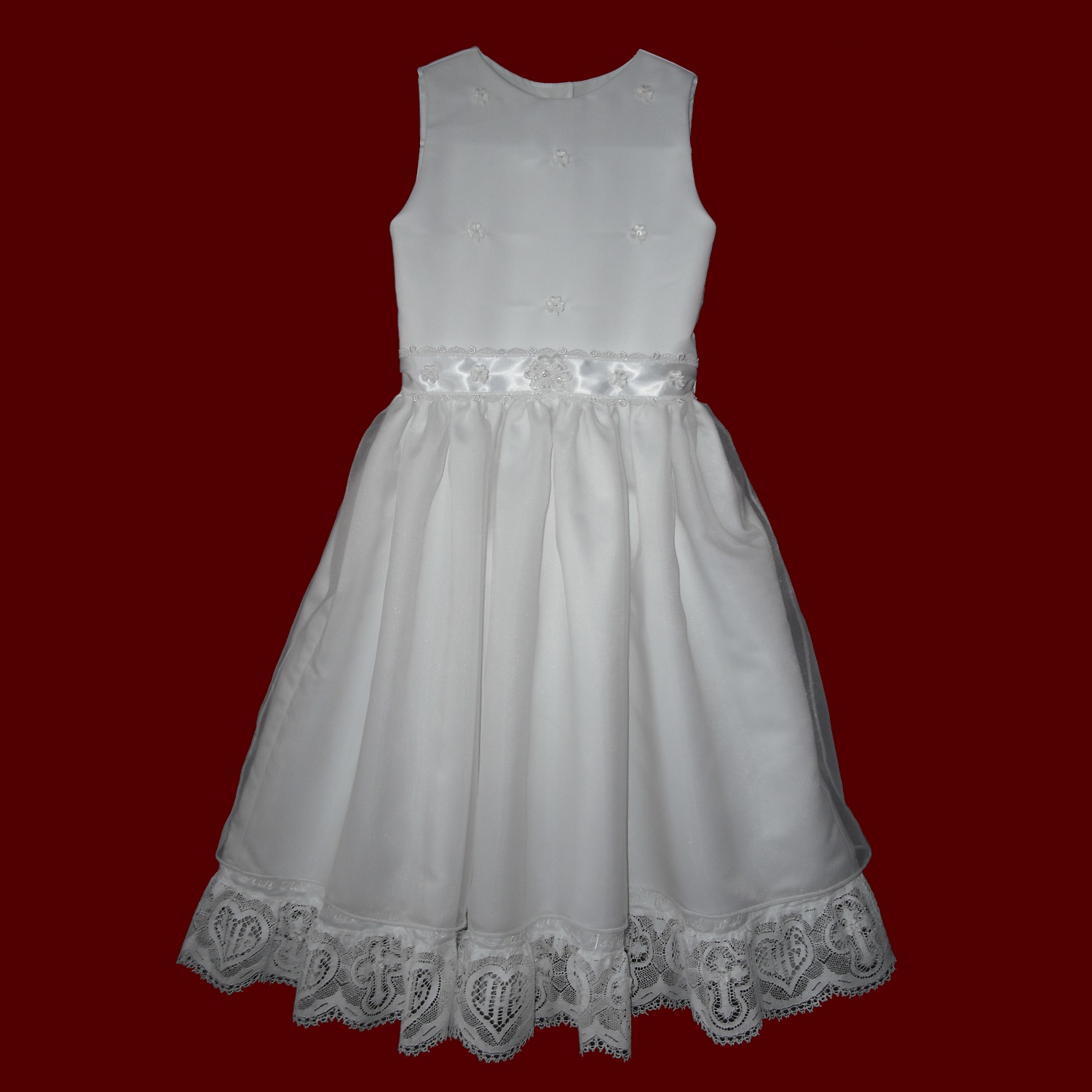Embroidered Hail Mary Satin & Organza Communion Dress With Cross & Heart Lace
