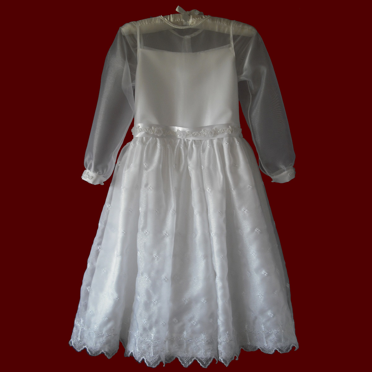 Embroidered Crosses Organza With Sheer Bodice & Sleeves Communion Dress