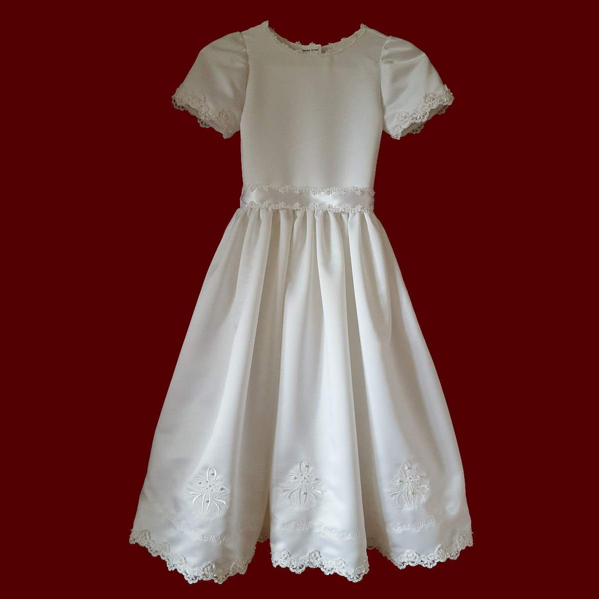 Hail Mary First Communion Dress With Embroidered Crosses And Beaded Lace