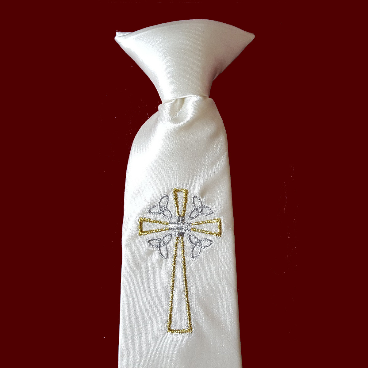 Boys Communion Tie With Gold & Silver Accents