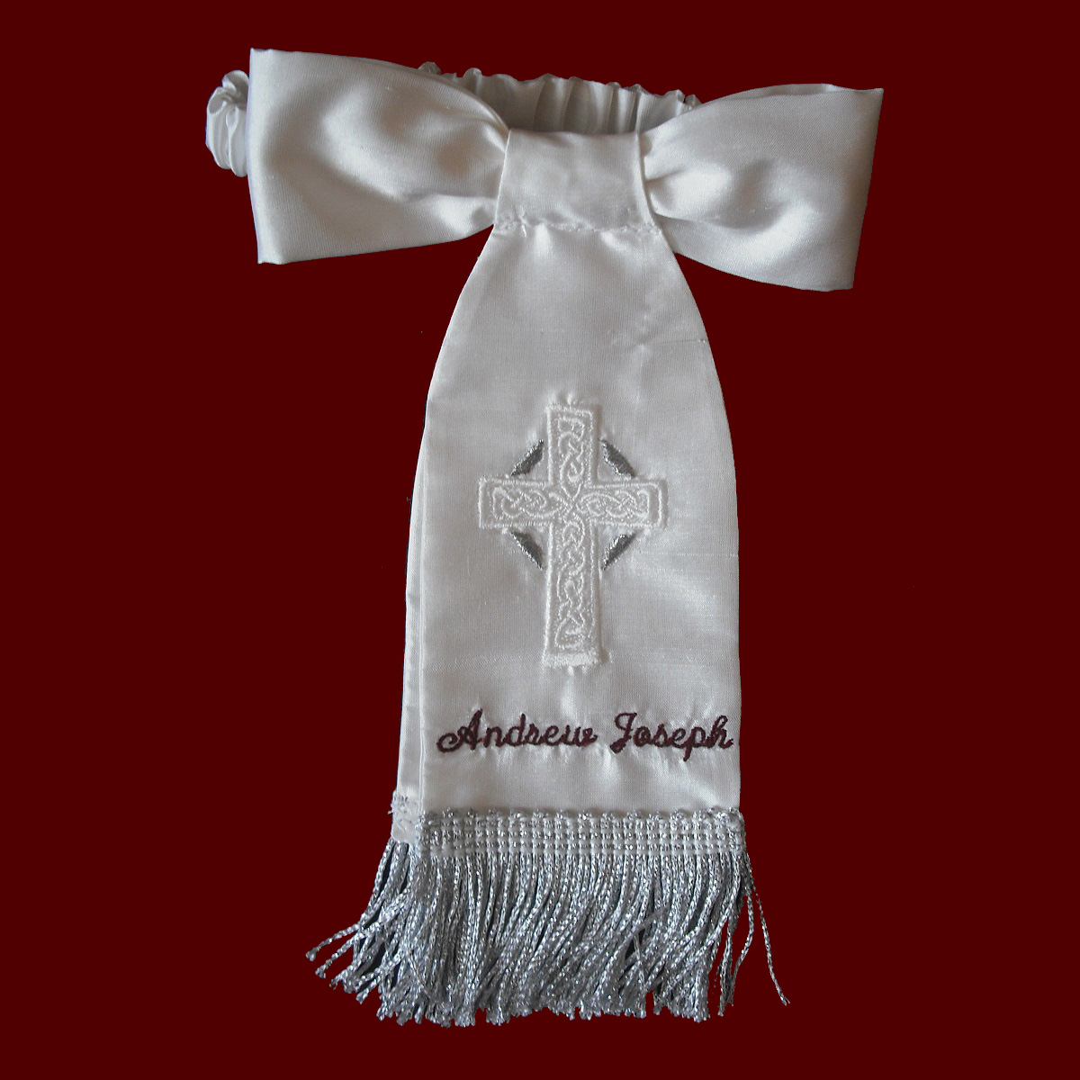 Boys Silk Communion Armband With Silver Metallic Accents & Fringe